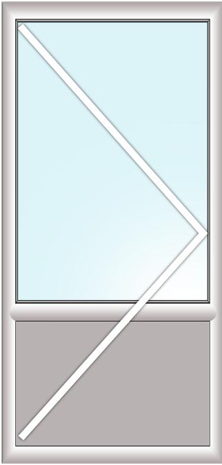 отдельно стоящая балконная дверь с импостом (поворотная, заполение стеклопакет+сендвич)