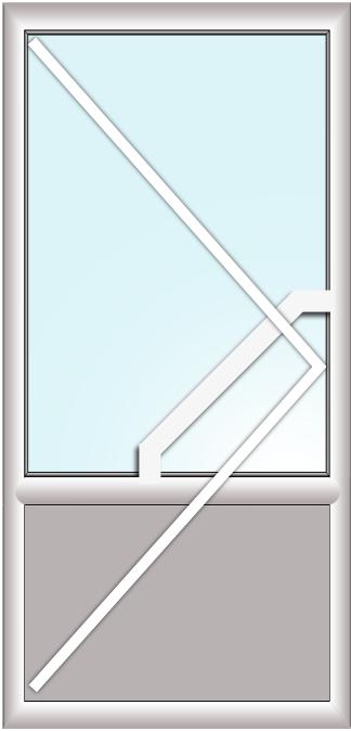 дверь поворотная (стеклопакет+сендвич+офисная ручка)