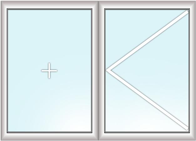 двустворчатое окно (глухое + поворотное)