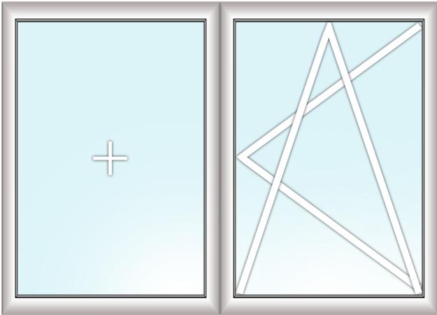 двустворчатое окно (глухое + поворотно-откидное)