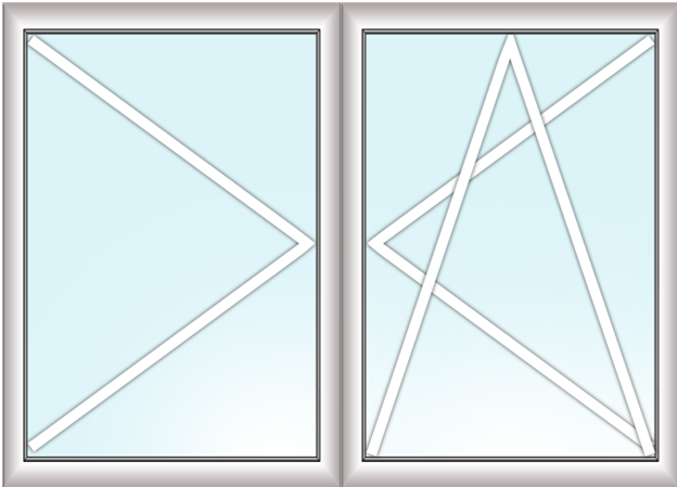 двустворчатое окно (поворотно + поворотно - откидное)