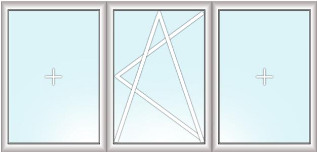 трехстворчатое окно (глухое + поворотно-откидное + глухое)