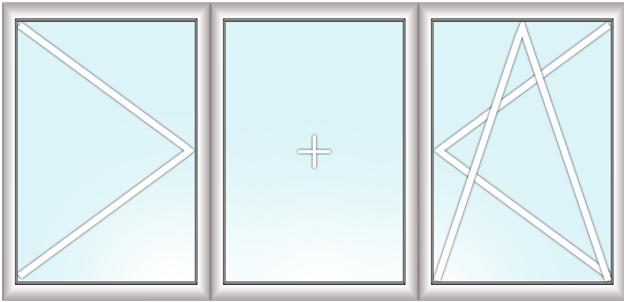 трехстворчатое окно (поворотное + глухое + поворотно-откидное)