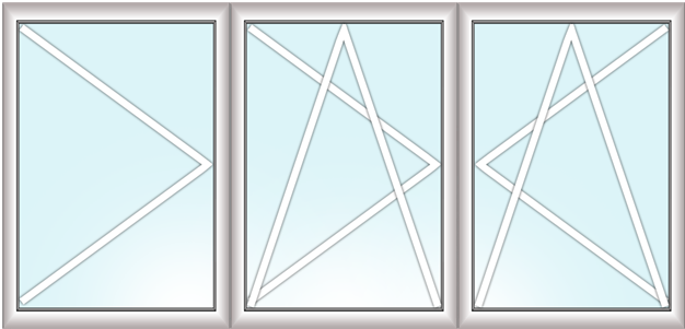 трехстворчатое окно (поворотное + поворотно-откидное + поворотно-откидное)