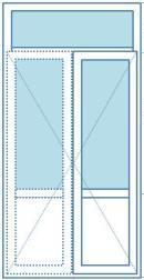штульповые двери (поворотные) + глухое окно