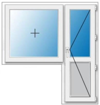 дверь поворотная окно глухое