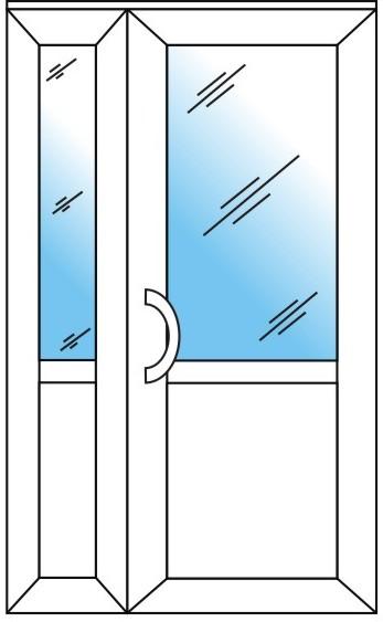 штульповая дверь (стеклопакет + сендвич + офисная ручка)