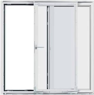 дверь параллельно-сдвижная (раздвижная)  (стеклопакет  + офисная ручка)