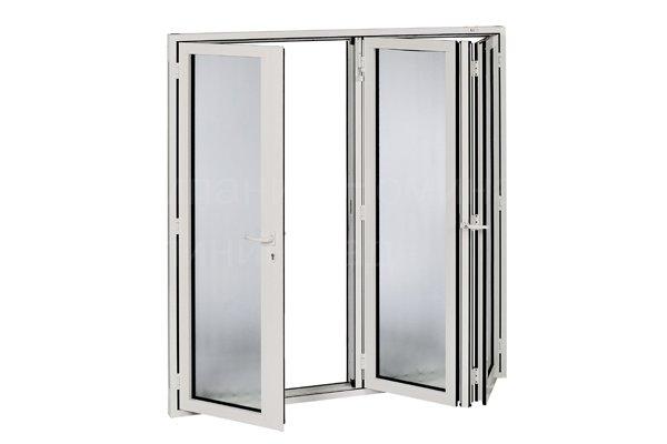 складная дверь (гармошка) (стеклопакет  + офисные ручки)