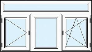 трехстворчатое окно с горизонтальным импостом (перегородкой), (поворотное + глухое + поворотно-откидное)