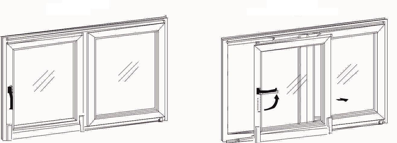 двустворчатое окно (сдвижное (раздвижное) + глухое)