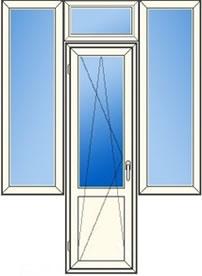 """дверь в центре (поворотно-откидная) + 3 глухих окна """"чебурашка"""""""