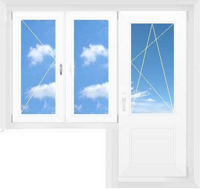 дверь поворотно-откидная + двухстворчатое окно (поворотное + глухое)