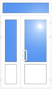 штульповая дверь + глухое окно (стеклопакет + сендвич + офисная ручка)